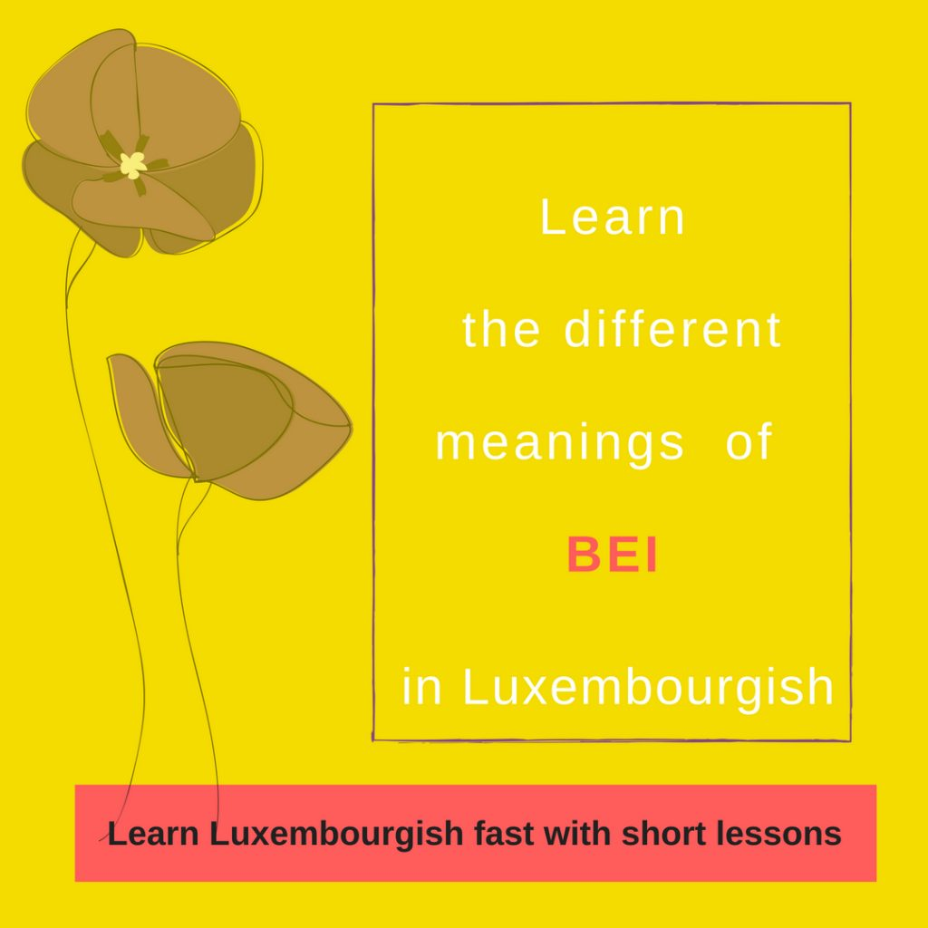 "Learn the different meanings of the Luxembourgish preposition ""Bei"""